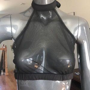 Black mesh backless top